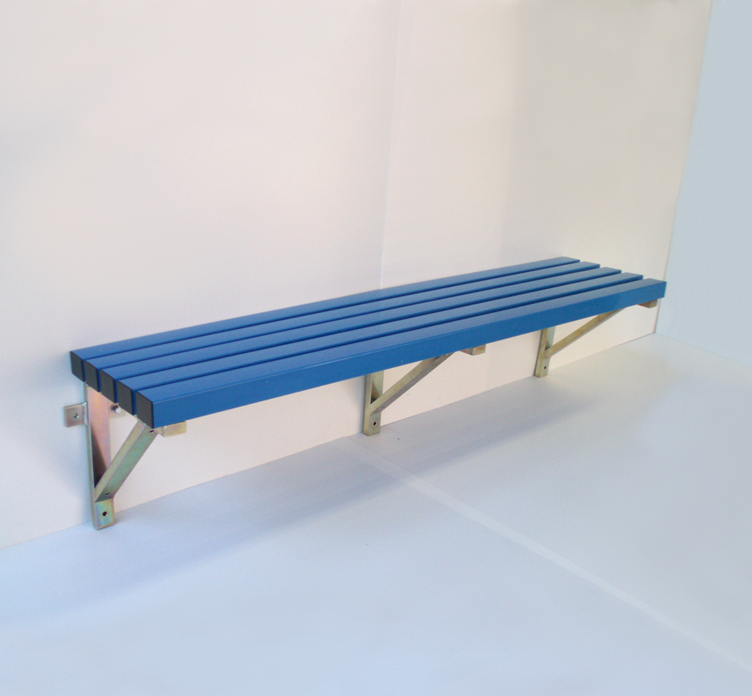 Wall-mounted bench for changing rooms