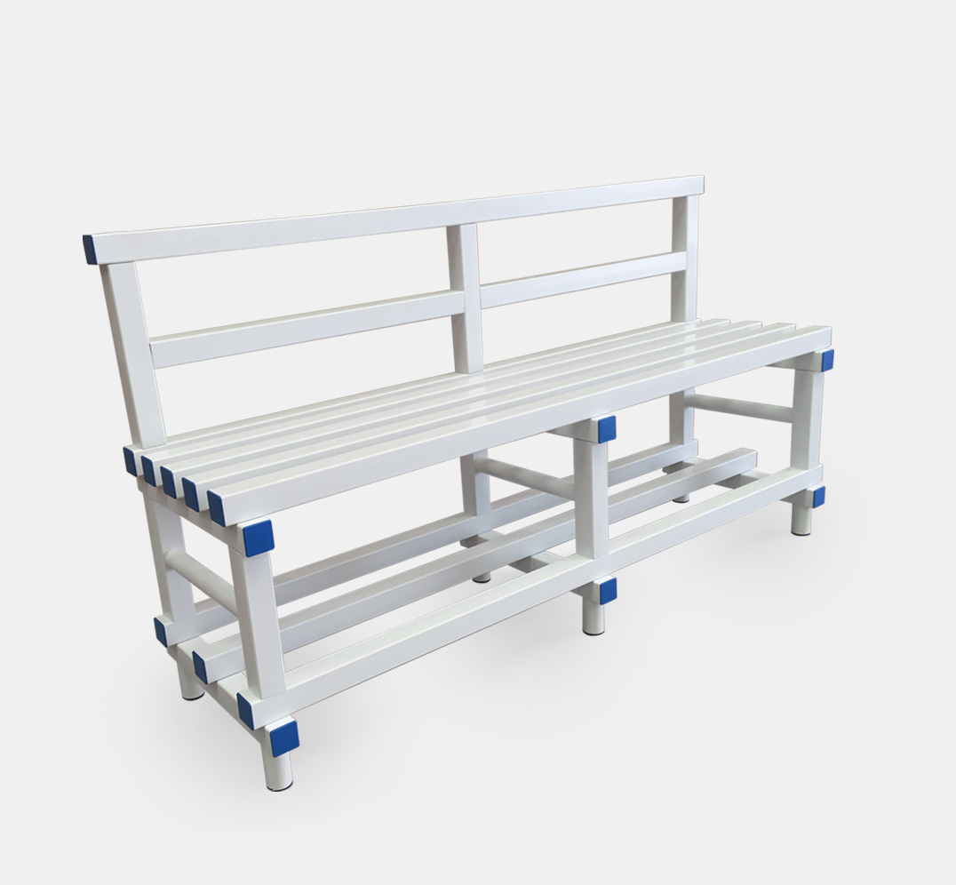 Bench with backrest for Changing Rooms and Gyms