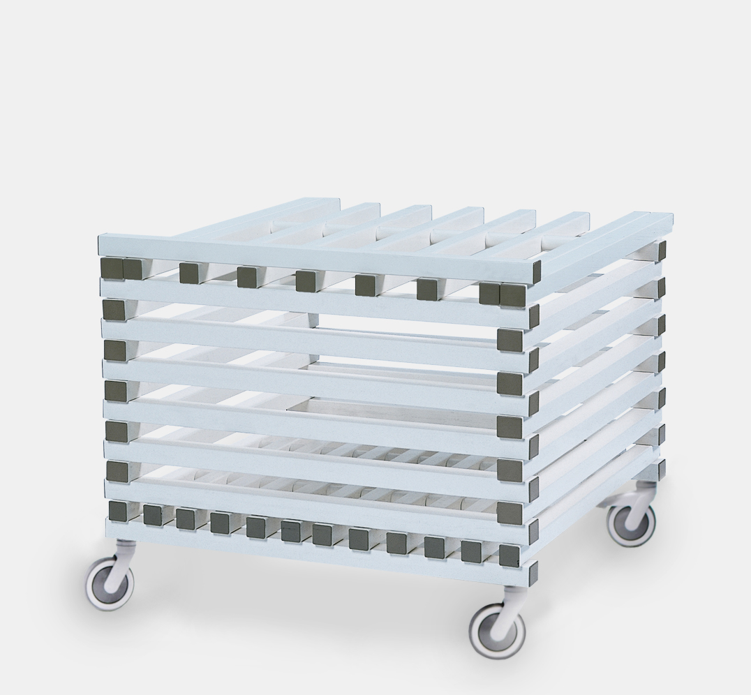 Storage trolley with lid in PVC plastic