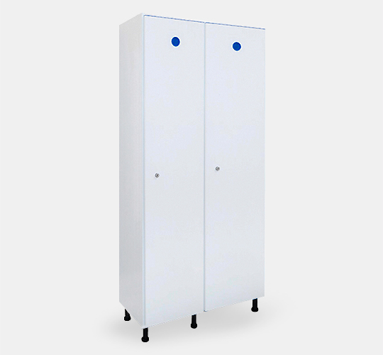 2 row locker 400mm width in PVC for Changing rooms