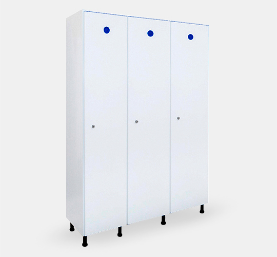 3 row locker 400mm width in PVC for changing rooms
