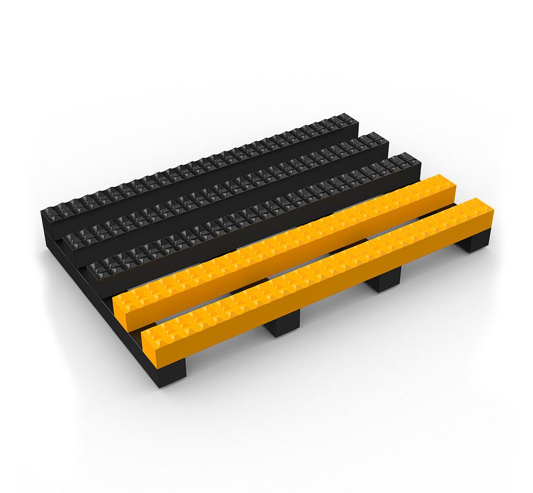 Vynagrip Plus anti-slip industrial mat with yellow edge.