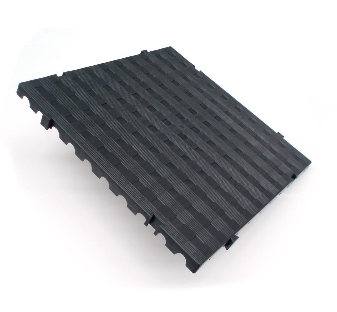 Closed plastic decking tile