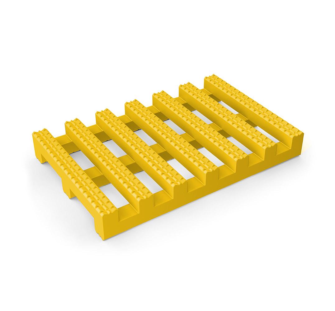 Pavimento enrollable para distanciamiento social CROSSLINE COVID19. Muestra del pavimento en amarillo.
