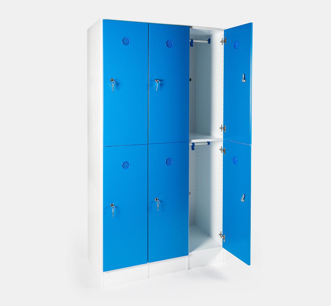 Taquilla para vestuario - 300mm - 3 módulos - 6 puertas - zócalo