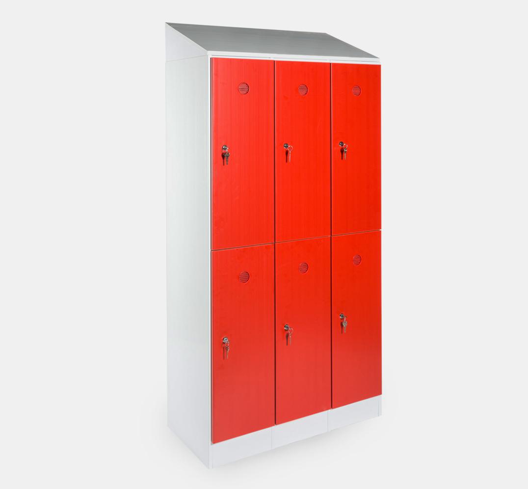 Taquilla para vestuario - 300mm - 3 módulos - 6 puertas - zócalo y tejadillo