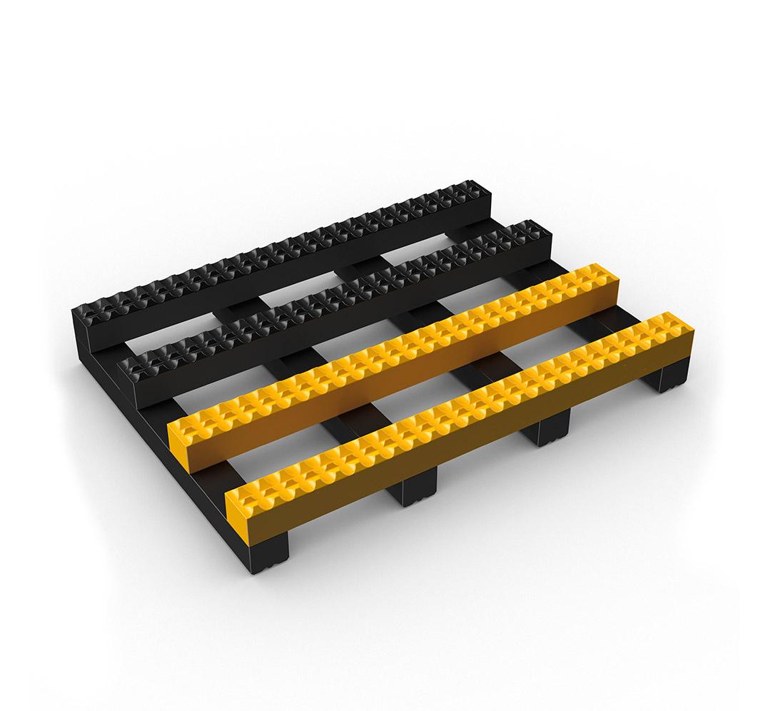 Suelo de malla ancha TRACKGRIP - negro y amarillo